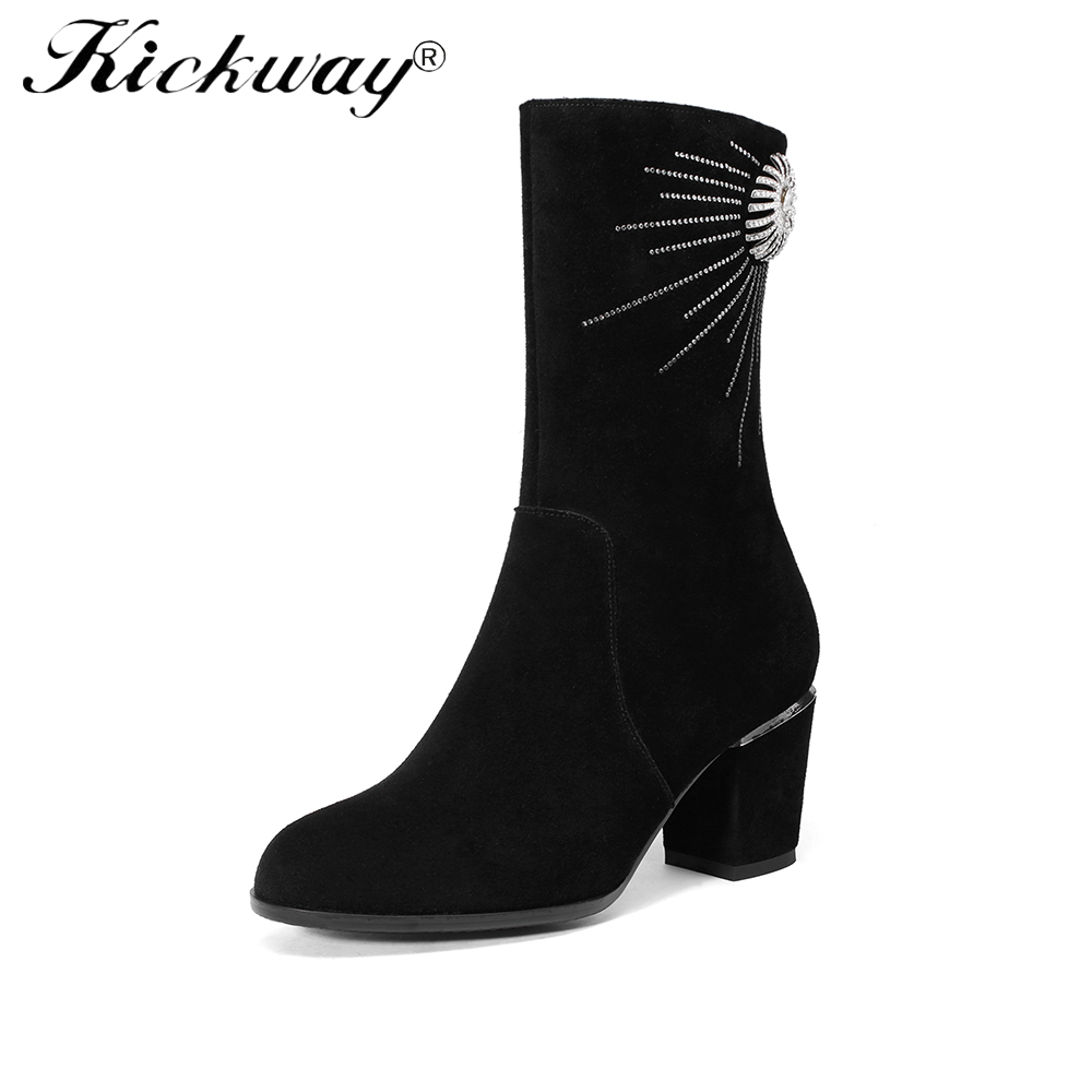 Kickway 2018 New Women Mid Calf Boots Round Toe Zipper Square heel Pumps Platform Crystal Riding Equestrian boots Big size 34-43 big size 34 43 advanced nubuck leather mid calf fashion round toe wedges boots for women 5 color new women boots
