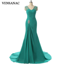VENSANAC 2018 Crystals Sweetheart Pleat Long Mermaid Evening Dresses Elegant Party Chiffon Sweep Train Prom Gowns