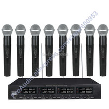 MICWL 2038 High-End 8 Handheld UHF LED digital radio Cordless Wireless Karaoke Microphones System micwl 2038v high end 8 lapel lavalier mics uhf led digital radio cordless wireless karaoke microphones system