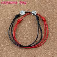 20Pcs Antique silver Tone Alloy Saint Benedict Medal on Adjustable Red black Cord Wrist Diy Wax rope weave Bracelet B-336a