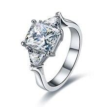 3 ct Rectángulo Cut SONA Diamante Simulado Anillo de Compromiso Propuesta Auténtica Plata de Ley 925 Placa de Platino Anillo de Bodas Las Mujeres