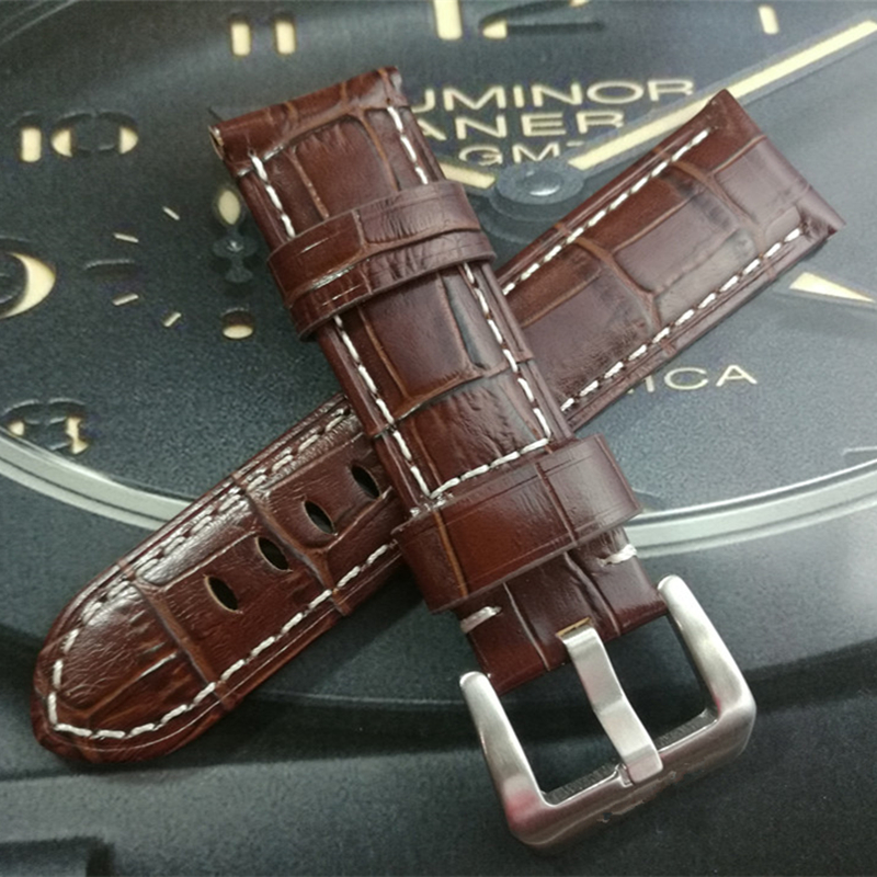 TJP Top Qualité 22mm 24mm 26mm Rétro Brun Vintage Italie En Cuir Veau Bracelet Bracelet Remplacer PAM PAM111 Pilote Bracelet