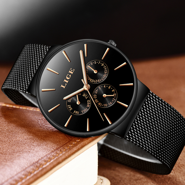 Top Brand Luxury Waterproof Ultra Thin Date Clock Male Steel Strap Casual Quartz Watch Men Sports Wrist Watch 3