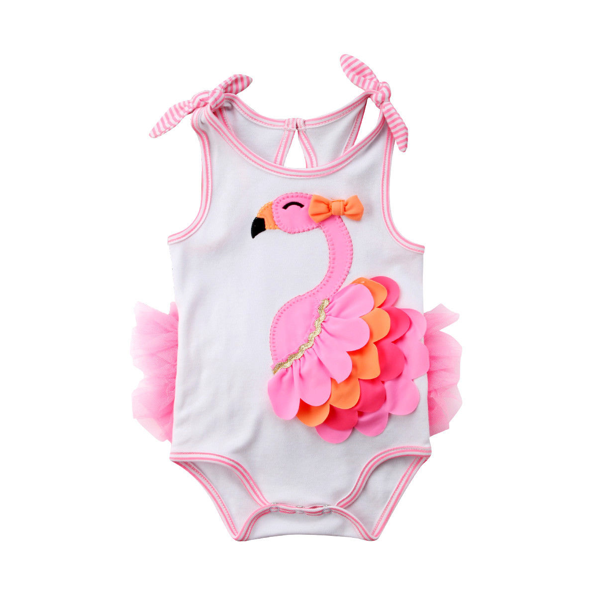 0-18M Cute Newborn Kids Baby Girl Clothes Flamingo Flower Lace Romper Sleeveless Lace up Jumpsuit Outfits pink lovely stylish round collar sleeveless lace spliced women s jumpsuit