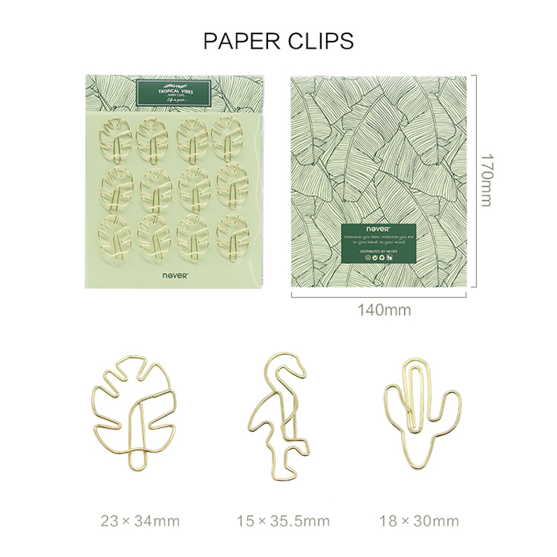 Купить с кэшбэком NEVER Plant Cactus Flamingo Shape Gold Metal Paper Clips For Photo Message Cute Bookmark Planner Office accessories Stationery
