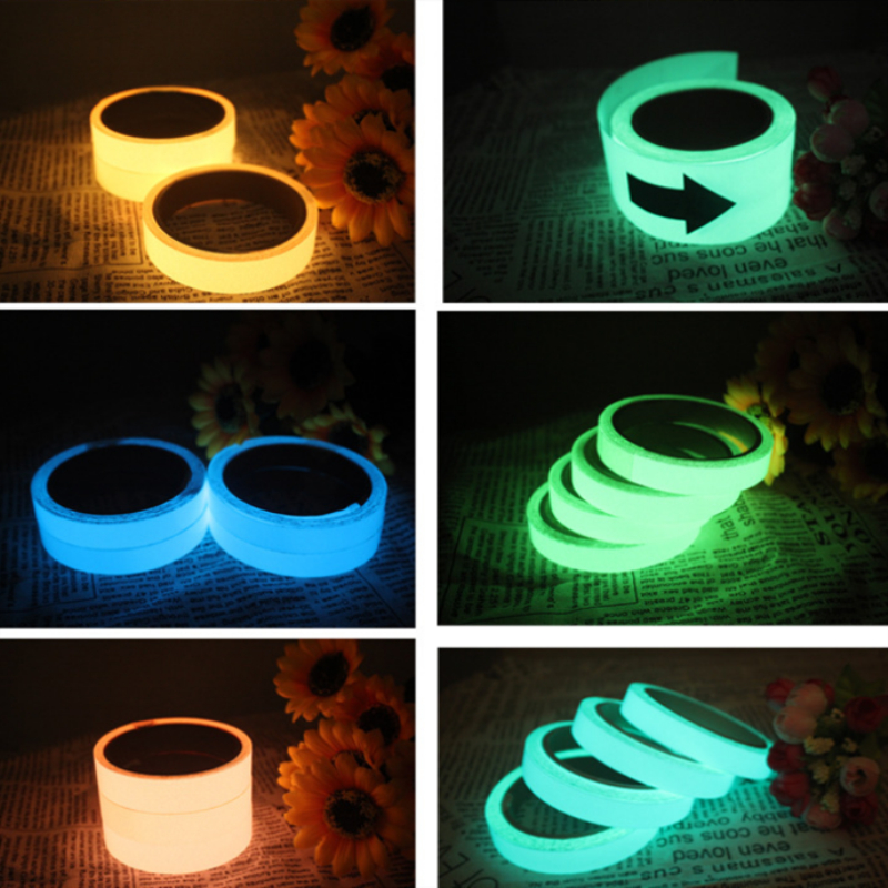 2cmx1m Luminous Tape Self-adhesive Warning Tape Night Vision Glow In Dark Safety Security Home Decoration Tapes 5 Color multi color 1 roll 20m marking tape 100mm adhesive tape warning marker pvc tape
