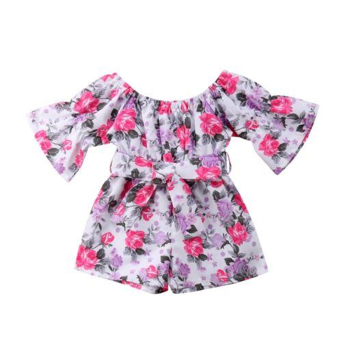 4b63daf92cf7 Summer Toddler Kids Baby Girl Off Shoulder Rompers Jumpsuit Playsuit Shorts  0-5T