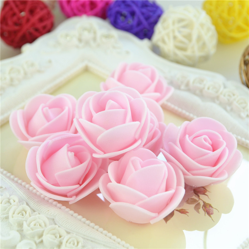50pcs/Bag Multicolor Mini Rose Head Artificial Flowers For Wedding And Festival Party 4