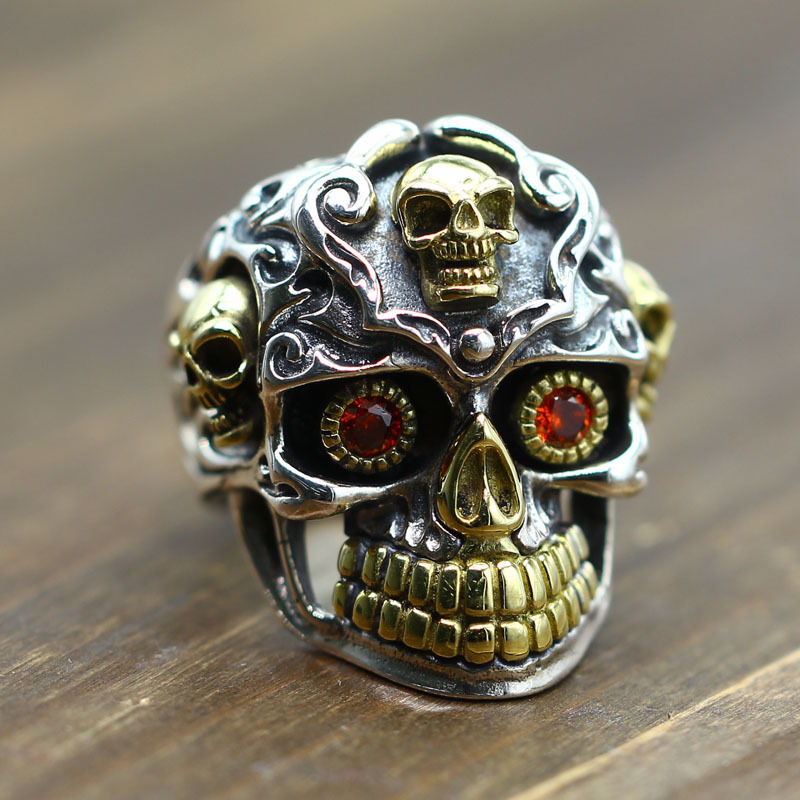 Personality inlay zircon domineering man skull ring retro Thai silver ornament carved sterling silver 925 ring
