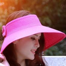 Hot Elegant Women Lady Foldable Roll Up Sun Hat Beach Bow-knot Wide Brim Straw Visor Hat Round Gorras Summer Female Accessory