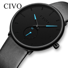 CIVO Mens Watch Fashion Elegant Sport Waterproof Wristwatch Ultra Thin Leather B