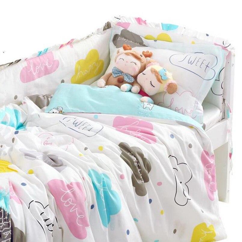 Ensemble de literie bébé 3 pièces/ensemble pour lit bébé en coton doux sans Irritation ensemble de lit bébé housse de couette drap de lit taie d'oreiller literie nouveau-né