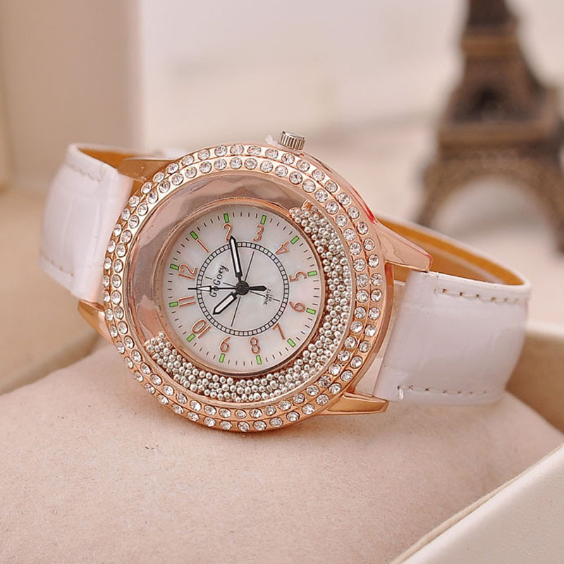 Fashion Women Watch Crystal Rhinestone Leather Women Dress Clock Ladies Quartz Wristwatches Reloj Mujer Girls Clock Bracelet