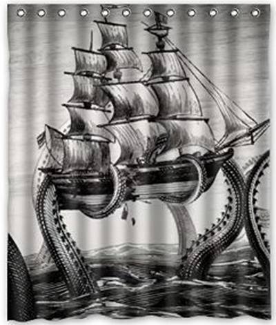 NEW Style Cool Kraken Octopus PatternDeep Sea Monster Art Decor 100 Polyester Shower Curtain 60 Wide X 72 Long C427