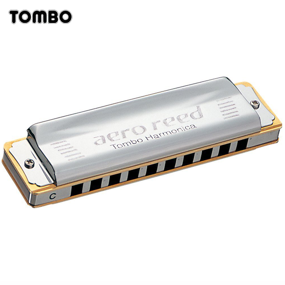 Tombo Aero Reed Harmonica 10 Holes Diatonic Blues Harp Brass Reeds Mouth Organ Key C Metal Comb Musical Instruments Silver 2010 easttop brass chromatic harmonica 16 hole brass abs comb musical instruments mouth organ chromatic slide harmonica good sound