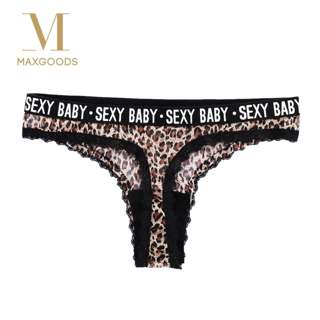 b582654db062 Fashion Leopard Mesh Transparent Lace Panties Sexy Women Knickers G-String  Briefs Letter Underwear G