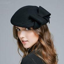 Mujer banquete de boda fiesta moda sombreros Lady Grace Bowknot sombrero  Fedora sombrero las mujeres 100% fieltro de lana boina 2b139be23ca