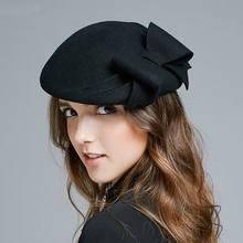 Mujer banquete de boda fiesta moda sombreros Lady Grace Bowknot sombrero  Fedora sombrero las mujeres 100% fieltro de lana boina d0550c03a09