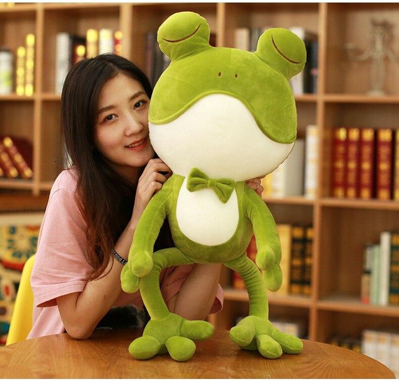 large 80cm cute cartoon frog plush toy soft doll creative throw pillow Christmas gift w2221 cute big head dog toy short plush throw pillow blue beige 80cm