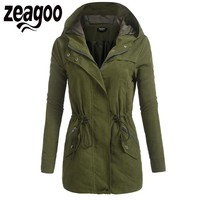 Zeagoo 2017 Autumn Coat Jacket Women Casual Zip Up Solid Drawstring Hooded Military Bomber Jacket with Pocket chaqueta mujer