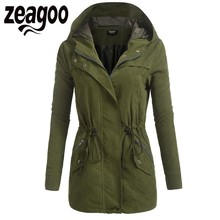 Zeagoo Autumn Coat Jacket Women Casual Zip-Up Solid Drawstring Hooded Military Bomber Jacket with Pocket chaqueta mujer camo multi pocket patches design drawstring hooded jacket