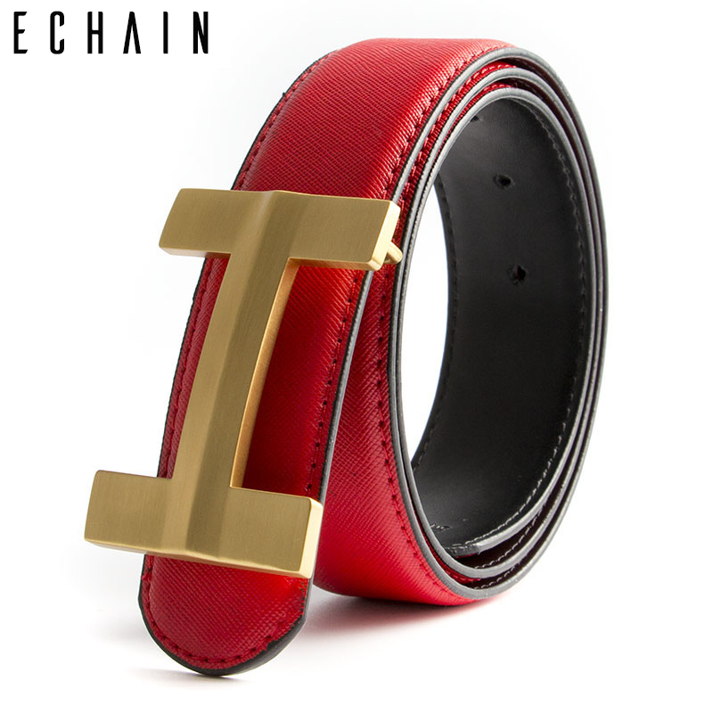 ECHAIN Red Solid Brass Luxury H Buckle Brand Designer   Belt   Men High Quality Women Punk Genuine Real Leather Male Strap for Jeans