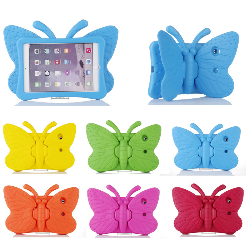 Fashion EVA Shockproof Case for IPad 2 3 4 Cartoon Children Kids Safe 3D Butterfly Stand Cover for ipad2 ipad3 ipad4 Fundas