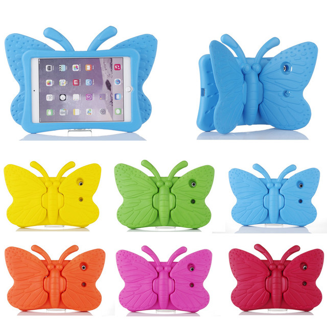 Fashion EVA Shockproof Case for IPad 2 3 4 Cartoon Children Kids Safe 3D Butterfly Stand Cover for ipad2 ipad3 ipad4 Fundas