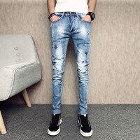 Summer New Skinny Jeans Men Korean Slim Fit Casual Ripped Men Jeans Fashion Embroidery Hole Hip Hop Denim Pants Men Trousers 33