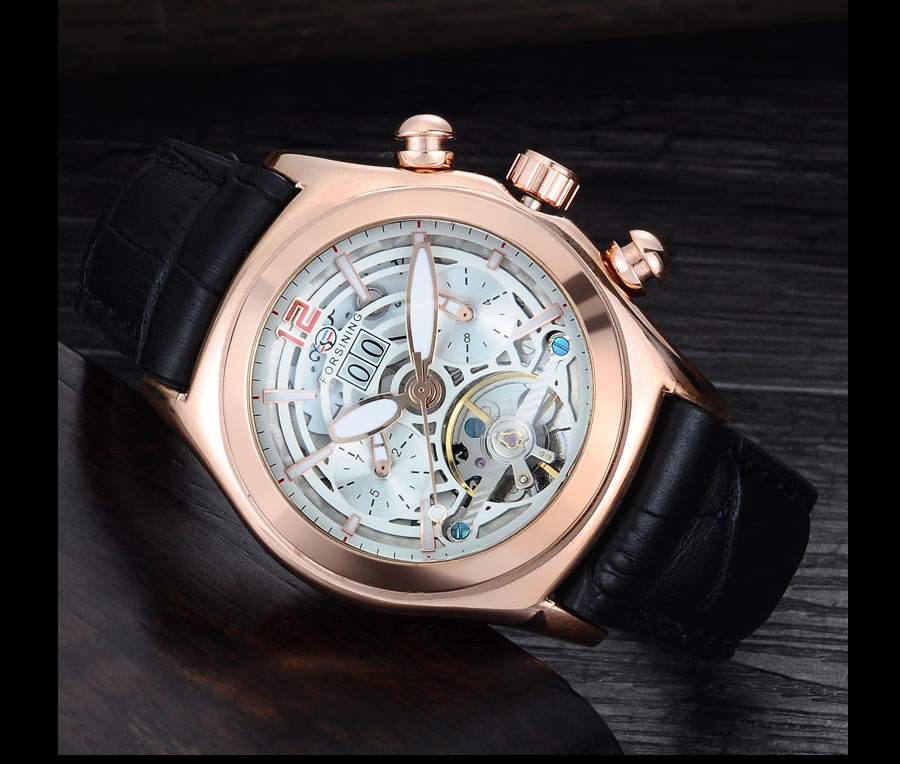 Forsining Convex Glass Stylish Tourbillion 3D Genuine Leather Strap Mens Watches Top Automatic Watch Clock (9)