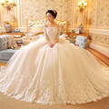 2016 ivory half sleeve Beteau long train Wedding Dress dentelle Balle fluffy robes De Mariage lace up robes De married robes