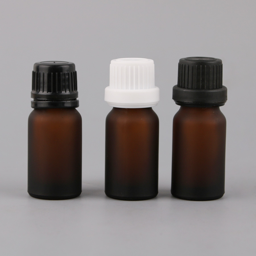 wholesales 26pcs 10ml Frosted Brown screw cap Frost Glass Amber Opaque Essential Oil bottle dropper Liquid
