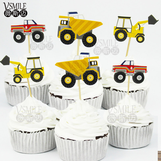 24pcs Cool Truck Duck Turtle Fish Princess Whale Frog Cupcake