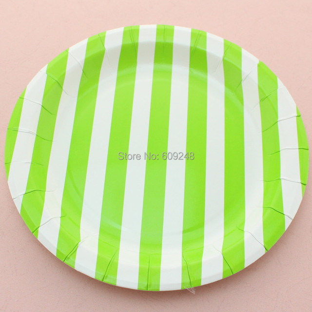 24pcs 9  Cheap Biodegradable Wedding Birthday Green Striped Paper Plates Round Disposable Party Dessert Paper  sc 1 st  AliExpress.com & 24pcs 9