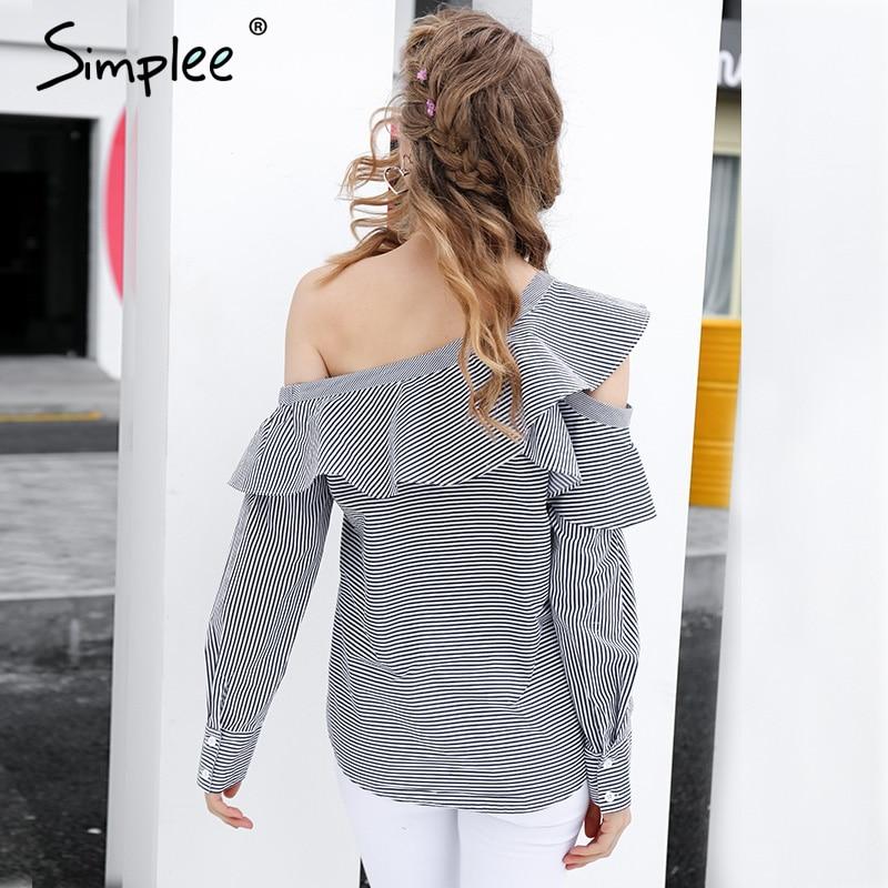 Women Long Sleeve Striped Casual Blouse T-Shirt Ruffled Loose Tops LA