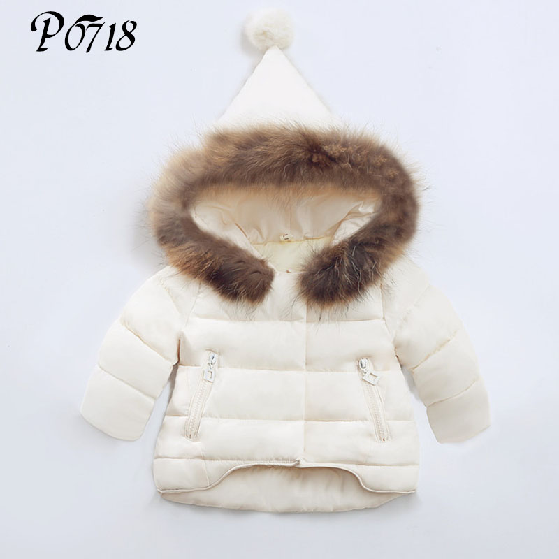 Hot Sale Baby Girl Winter Down Coat 2018 Toddlers Kids Clothing Children Outwear Snowsuit Infant Padded Jacket Beige Red Black