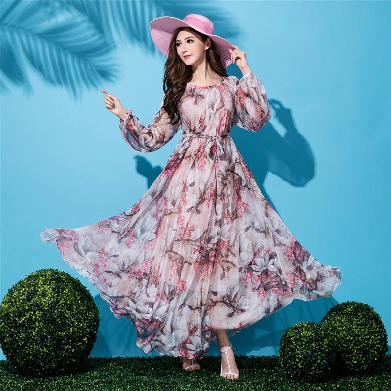 Emoyi Women Floral Print Vintage Soft Chiffon Maxi Boho Long Skirt Beach Dress