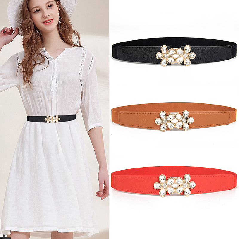 New Fashion Gold Buckle Waistband Elastic Wide Belt Woman Cummerbund Strap Waist Female Women Accessories Elastic Crystal Flower