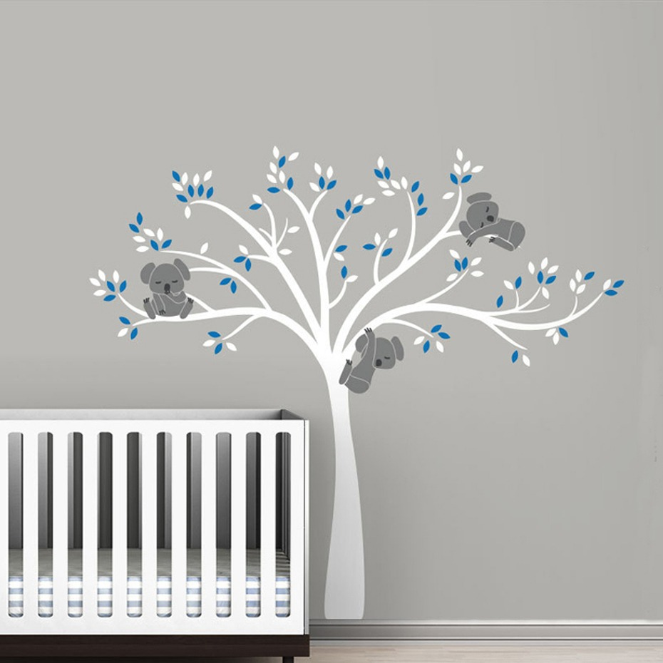 Koala Family On White Tree Branch Vinyls Wall Stickers Nursery Decals Art Removable Mural Baby Children