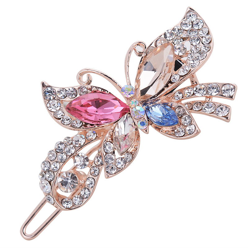 Mutlicolor Elegant Rhinestone Butterfly Barrettes Hair Clips Amazing Crystal HairPin For Women And Girls