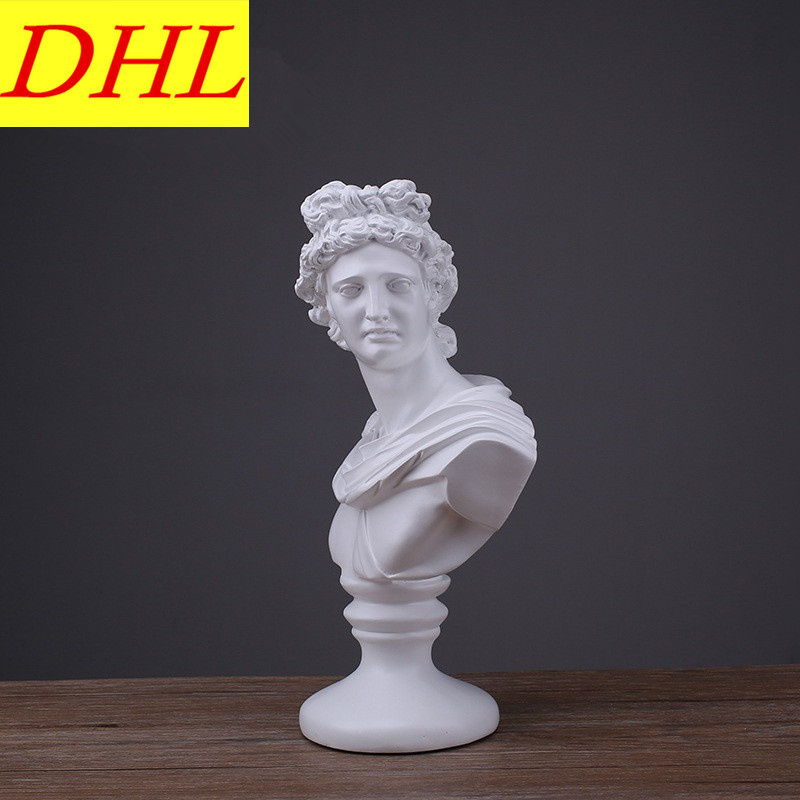 Retro David Bust Figure Michelangelo Buonarroti Statue Gypsum Resin Craftwork Desktop Home Decorations Collectible L2174