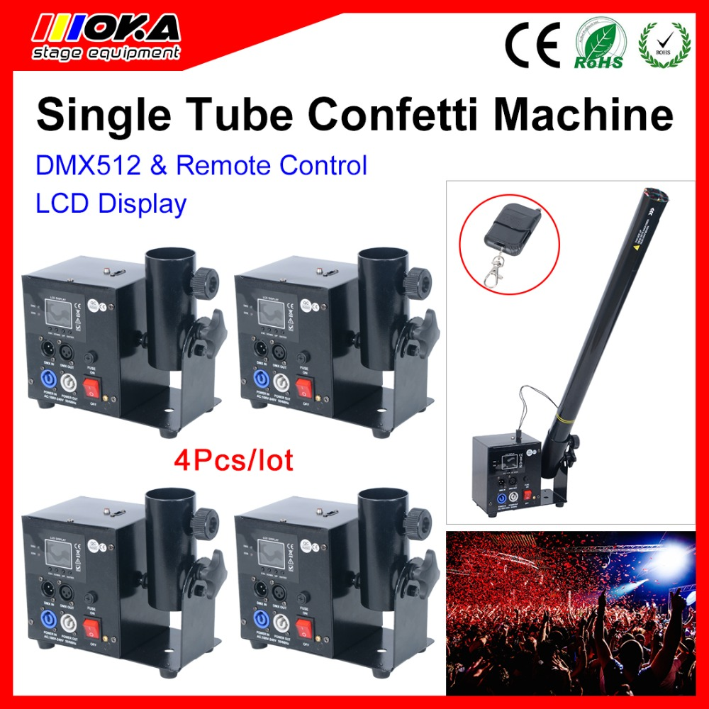 4 Pcs/lot factory wholesale lcd one head stage confetti machine dmx 512 remote control for For wedding party decoration4 Pcs/lot factory wholesale lcd one head stage confetti machine dmx 512 remote control for For wedding party decoration