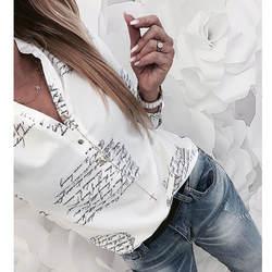 Для женщин Мода V образным вырезом с длинным рукавом Сексуальная Пляжная блузка рубашки для мальчиков повседневное буквенным Принто