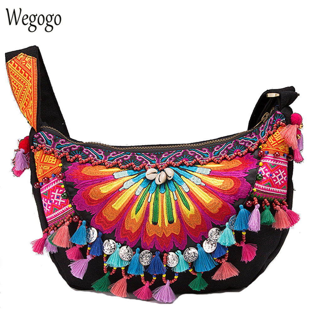 Vintage Handbag Ethnic Boho Handmade Embroidered National Original Floral Embroidery Tassel Women Shoulder Messenger Bags national embroidered bags embroidery unique shoulder messenger bag vintage hmong ethnic thai indian boho clutch handbag 25 style
