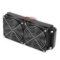 Aluminum Computer Radiator Water Cooling Cooler 2 Fans 240mm For CPU Heatsink