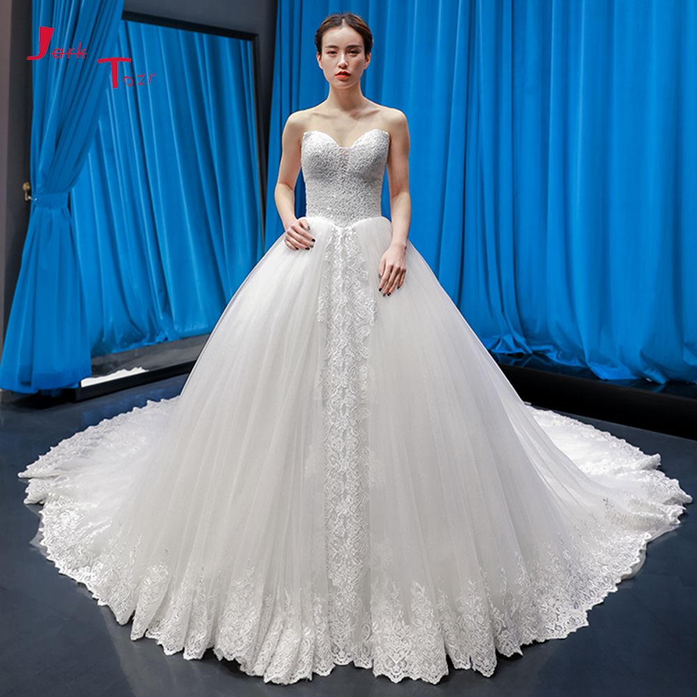 US $307 19 28% OFF|Vestido De Noiva Princesa 2019 Full Beading Sequins  Bodice Appliques Chapel Train Gorgeous Ball Gown Wedding With Petticoat-in
