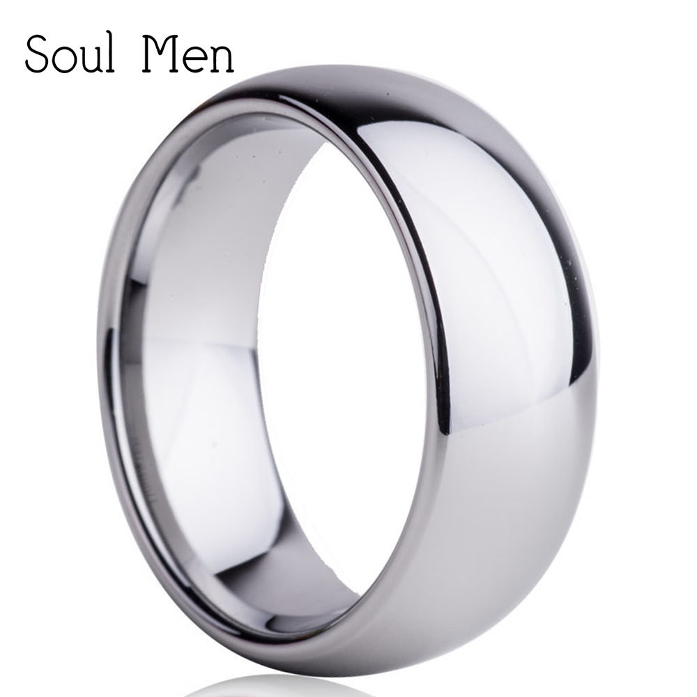 все цены на Hot Sale in Russia Chile 8MM Men's High Polish Tungsten Carbide Rings For Mens Fashion Jewelry Comfort FIt Wedding Band TU001R