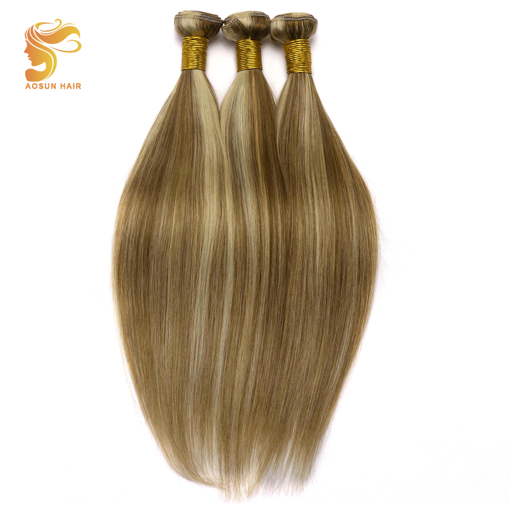 Shock-Resistant And Antimagnetic 3/4 Bundles Strong-Willed Aosun Hair 100% Remy Human Hair Extensions Brazilian Straight Hair Weave Bundles 3 Bundles Deals P8/613 Mix Color 10-26inch Waterproof