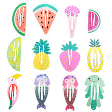 24pcs Girls Hair Clips for Baby Children Hair Styling Accessories Fruit Animal Snap Clip Pins Hairpins Cute Color Metal Barrette