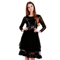 Sexy Dress Long Sleeve Fashion Black Floral Lace Round Neck Wetlook Club Party Dress A-Line Workout Daily Casual Dress